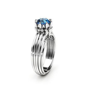 London Blue Topaz Ring Unique Engagement Ring 14K White Gold Ring Modern Engagement Ring
