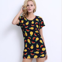 Pineapple Print T Shirt Dress  12322
