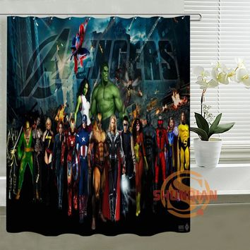 Custom The Avengers Captain America Thor All Heros Shower Curtain Hooks Waterproof Polyester Fabric Printing Bathroom Curtains