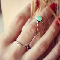 mint opal slave ring in sterling silver, opal knuckle ring, midi ring, minimalist ring, stacking ring, hammered ring