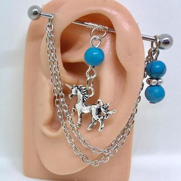 Unicorn wire wrapped turquoise stones Industrial/Scaffold barbell 14 gauge stainless steel body jewelry