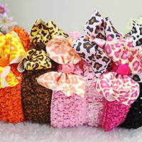"6 Pieces 3"" Leopard Bow Hair Clips Style Baby's Headbands Girl's Grosgrain Leopard Ribbon Head Band Hair Bow with Elastic 1.5"" Width Headband (6 Pack)"