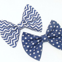 2 Hair Bows Vintage Inspired 1920s Blue Chevron and Polka Dots Hair Clip Rockabilly Pin up Teen Woman