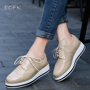 EOFK Brand Spring Women Platform Shoes Woman Brogue Patent Leather Flats Lace Up Footw