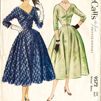 1950s UNCUT vintage sewing pattern evening cocktail dress jewel neckline deep v cinched waist hourglass waist 25 w25 b30 McCall's 9572