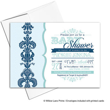 Printable baby shower invitation for a boy | navy and mint baby shower invites | digital or printed - WLP00732