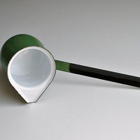 Vintage Green Enamel Turkish Coffee Pot Pourer Dipper Ladle