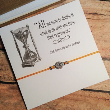 Lord of the Rings Inspired Compass Bracelet | Tolkien Quote | Bracelet with Card