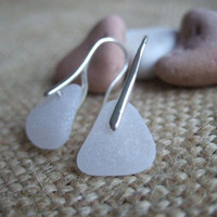 WATERDROPS...Scottish sea glass sterling silver elegant earrings with white sea glass, sterling silver and scottish white sea glass earrings