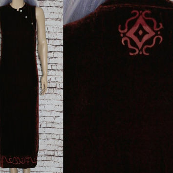90s Maxi Dress Burnout Velvet Mandarin Collar Bodycon Asian Tribal Wine Red Boho Grunge Hipster Festival Hippie Goth Witchy  Burgundy M L