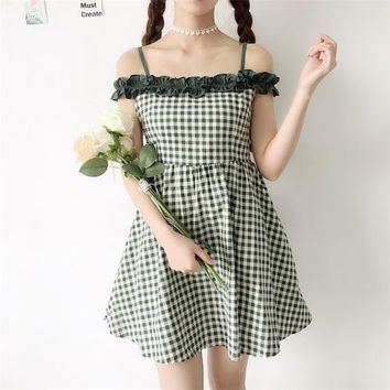 New Summer Women's Japanese Sweet Girl High waist Doll Dress slash neck Elastic waist Harajuku vintage Plaid Sling Dresses