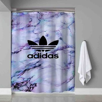 Luxury White Marble Adidas Black Logo Waterproof Shower Curtain Limited Edition