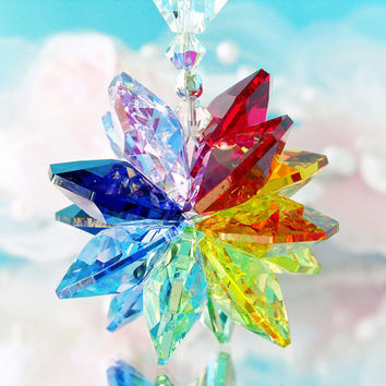 Chakra Suncatcher Rear View Mirror Car Charm Swarovski Crystal Car Accessories