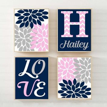 NAVY Pink Gray Nursery Wall Art, Girl Name Canvas or Prints Baby GIRL Love Flower Girl Bedroom Decor, Girl Monogram Name Set of 4 Crib Decor