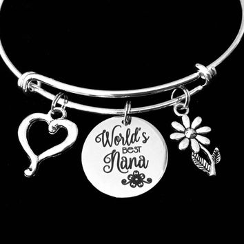 Worlds Best Nana Jewelry Adjustable Bracelet Expandable Silver Charm Wire Bangle Trendy Grandmother Grandma One Size Fits All Gift