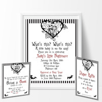 The Nightmare Before Christmas Baby Shower Invitation, Book Card & Diaper Raffle Card