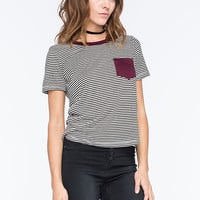 H.I.P. Striped Contrast Womens Pocket Tee Black/White  In Sizes