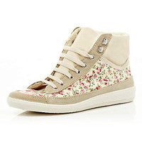 pink floral print high tops