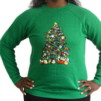 Vintage Handmade One of a Kind Ugly/Tacky Christmas Sweater with Sequin Tree and Gifts/ Sz XL Unisex Sweater Party