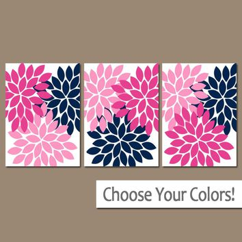 Hot Pink Navy Wall Art, Canvas or Print, Flower Burst Decor, Baby Girl Nursery Decor, Pink Navy Bathroom Pictures, Home Decor Set of 3