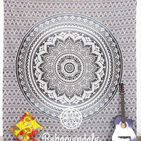 Beautiful Black & White Indian Wildflower Ombre Star Boho Mandala Art Cotton 100% Handmade Crafted Vintage Mandala Bohemian Tapesty Wall Hanging Art Decorative Beach Sheet Throw Bedding Dorm