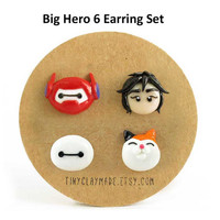 "Big hero 6 ""Baymax"" earring set, cute polymer clay cartoon character"