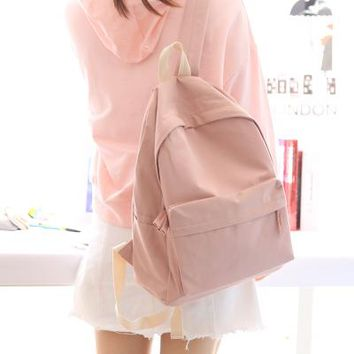 School Backpack trendy NuFangU classic design solid color cotton fabric women backpack fashion girls leisure bag school student bag book bag AT_54_4