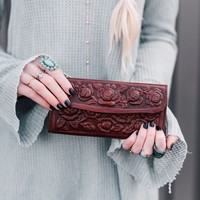 Tooled Brown Leather Wallet