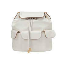 White Faux Leather Bucket Backpack