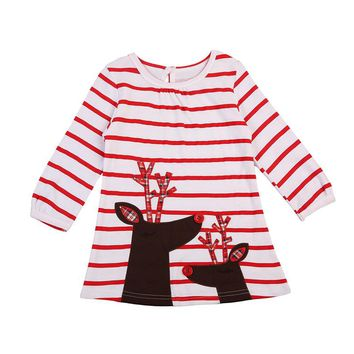 Newest Baby Girls Reindeer Little Girls Cute Dress One Piece Cotton Casual Long Sleeve Mini Dresses Summer