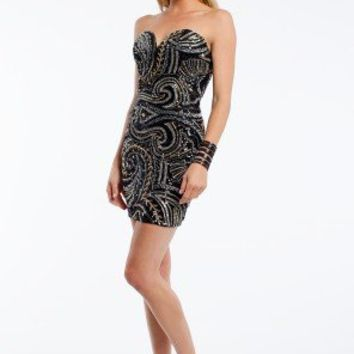 Strapless Beaded Swirl Dress