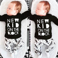 New 2016 baby boy clothes infant cotton letter printed long sleeve t-shirt + pants newborn 2pcs suit baby girl clothing sets
