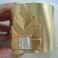 Vintage Art Deco Gold Cuff Bracelet Antique 1920's Faceted Glass