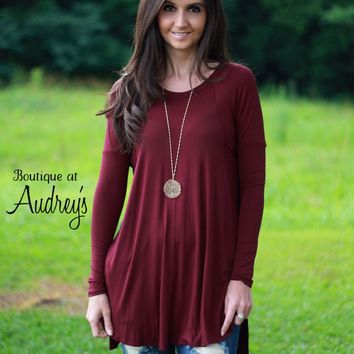 BLACK FRIDAY SPECIAL Long Sleeve Burgundy Dolman Style Tunic