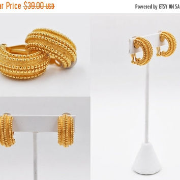 ON SALE Vintage St. John Gold Hoop Clip Earrings, Beaded and Textured, Chunky, Designer, Bold Gold! A123