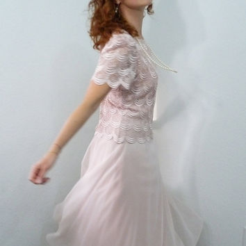 Vintage 1980s Pink Lace Dress After Dark Sheer Party Evening Prom Wedding Gown