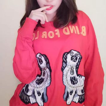 GUCCI BLIND FOR LOVE Puppy Embroidery Round Neck Long sleeve Pullover Sweatshirt