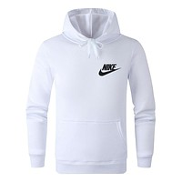 NIKE Popular Men Women Casual Print Hoodie Sweater Pullover Top White