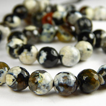 15 Inch Strand - 8mm Faceted Multicolor Agate Beads - Coffee - Gemstone Beads - Jewelry Supplies
