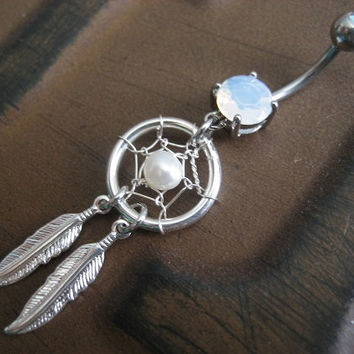 Pearl Dream Catcher Belly Button Jewelry Ring- Dangly Feather Opal Navel Piercing Azeeta Designs