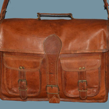 "15"" Vinage Classic Goat Leather Massenger Bag // Satchel // Laptop Bag // Darkest brown leather bags// Handmade Leather Bag"