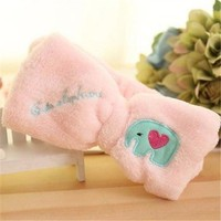 Women Cute Big Bow Headband Hair Makeup Wash Face Flannel Bundle Hair Accessories