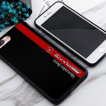 Mercedes AMG Red Stripe Fit Hard Plastic Cover Case For iPhone 6 6s+ 7 7+ 8 8+ X
