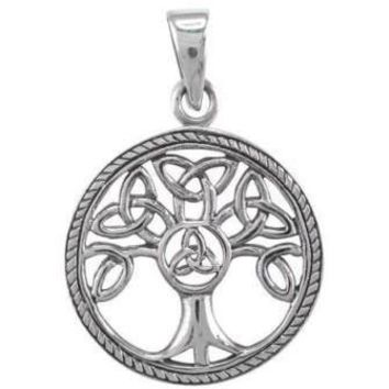 925 Sterling Silver Celtic Irish Knots Family Tree of Life Round Charm Pendant