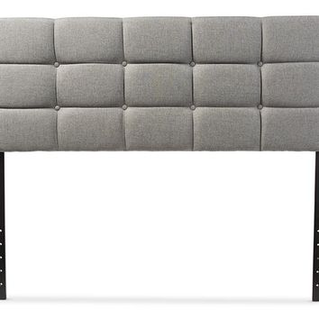 Baxton Studio Bordeaux Modern and Contemporary Grey Fabric Queen Size Headboard  Set of 1