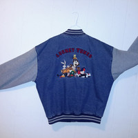 Vintage Looney Tunes Denim Varsity Jacket Warner Bros. Cartoons Button Down Bomber Bugs Bunny Taz Marvin the Martian Sz Large