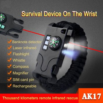 Luxury Men's & Women's Outdoor Laser Infrared SOS Survival Bracelet Rechargeable Braided LED Flashlight Compass Bracelets QSSL15