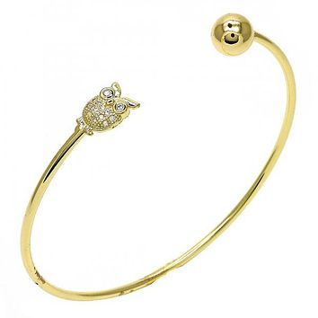Gold Layered 07.204.0003 Individual Bangle, Owl and Ball Design, with White Cubic Zirconia and White Micro Pave, Polished Finish, Golden Tone (02 MM Thickness, One size fits all)