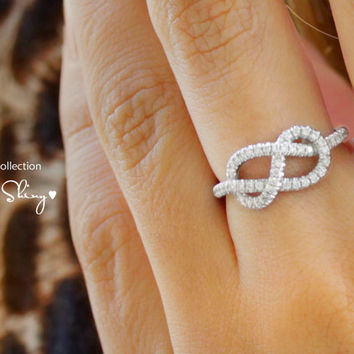 Infinity Knot Diamond Ring  The Original 14K Gold by SillyShiny
