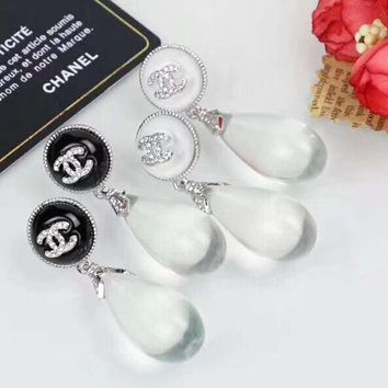 CHANEL New Fashion transparent crystal diamond earrings accessories women two color
